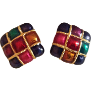 Enamel Jewel Tone Square Clip Earrings