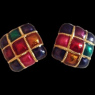 Enamel Jewel Tone Square Clip Earrings