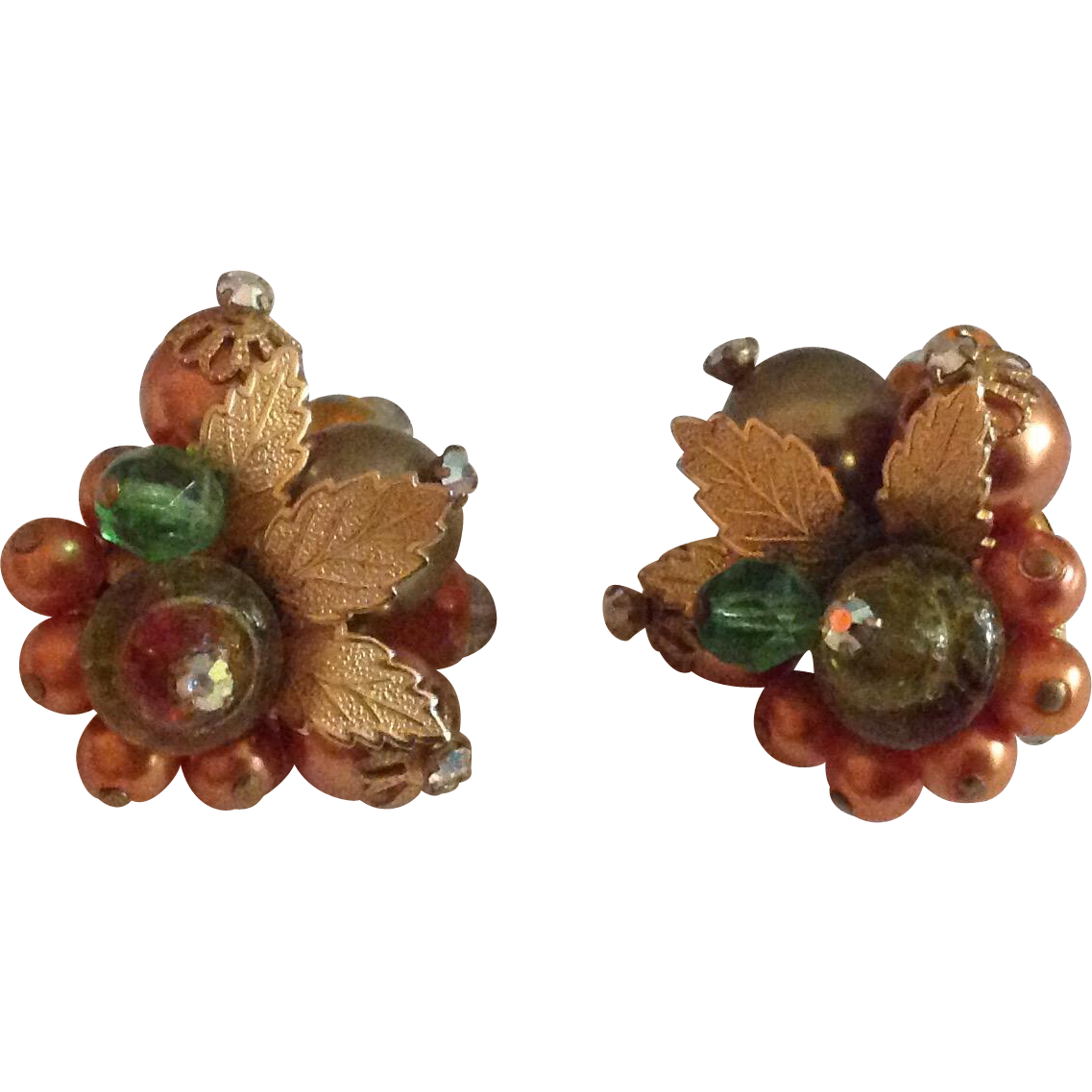 Bead cluster earrings in Fall colors with gold tone leaves