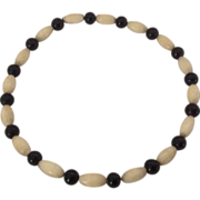 Black and cream celluloid bead bangle bracelet