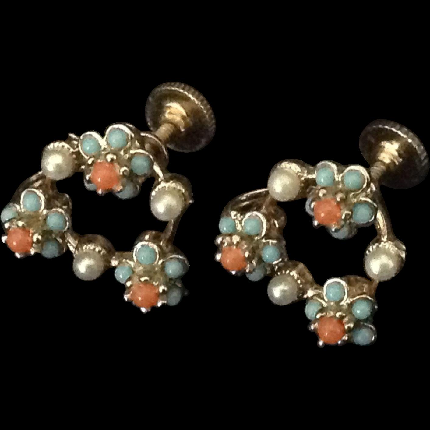 Dainty flower bead and faux pearl earrings