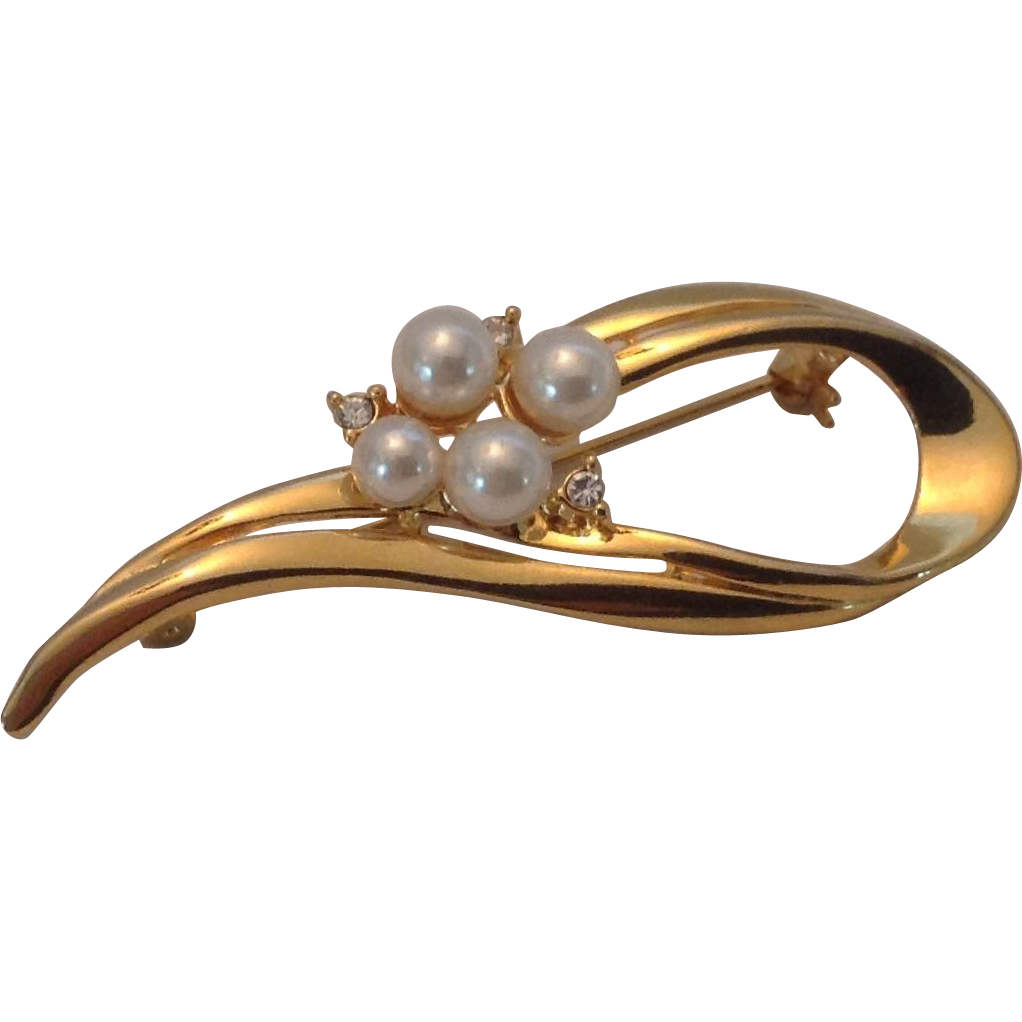 Free form faux pearl and rhinestone gold tone pin