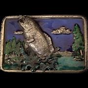 Bergamot Brass Works Enamel Bass or Trout Fishing Themed Belt Buckle