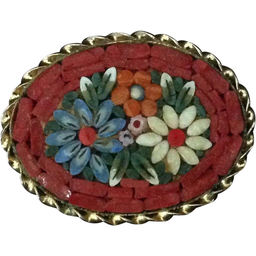 Micro Mosaic oval pin