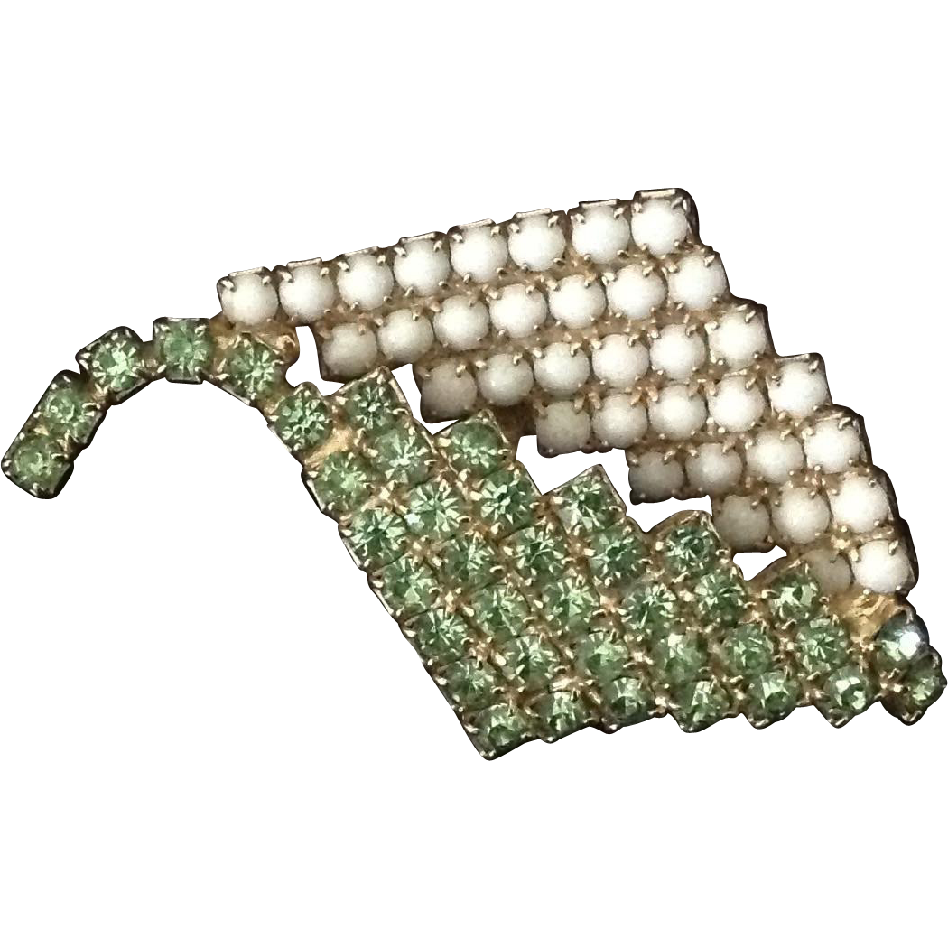Green rhinestone and white glass bead leaf pin