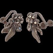 Krementz silvertone and rhinestone screw back earrings