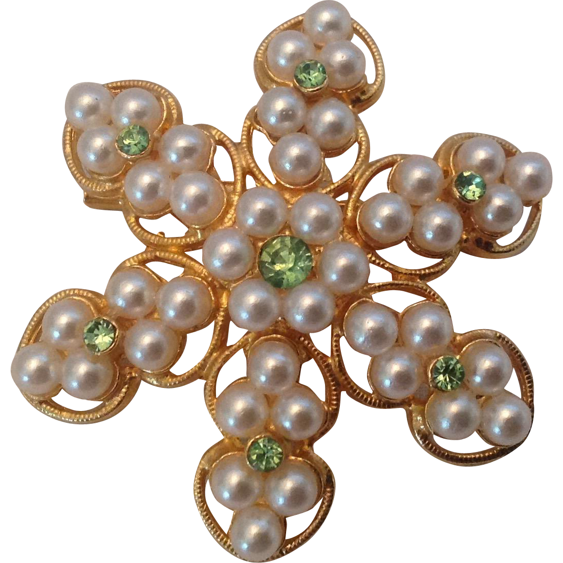 Snowflake Pin with Simulated Pearls and Sparkling Green Rhinestones