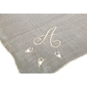 """Monogrammed linen handkerchief """"A"""""""