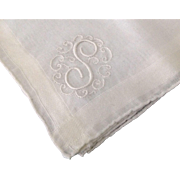 """Monogram """"S"""" linen handkerchief with woven inset border and rolled hem"""