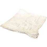 Pulled thread work embroidery linen handkerchief