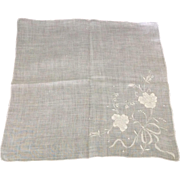 White work applique and hand embroidered handkerchief