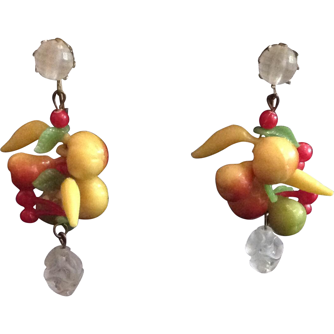 Bright Fruit Salad Dangling Earrings West Germany