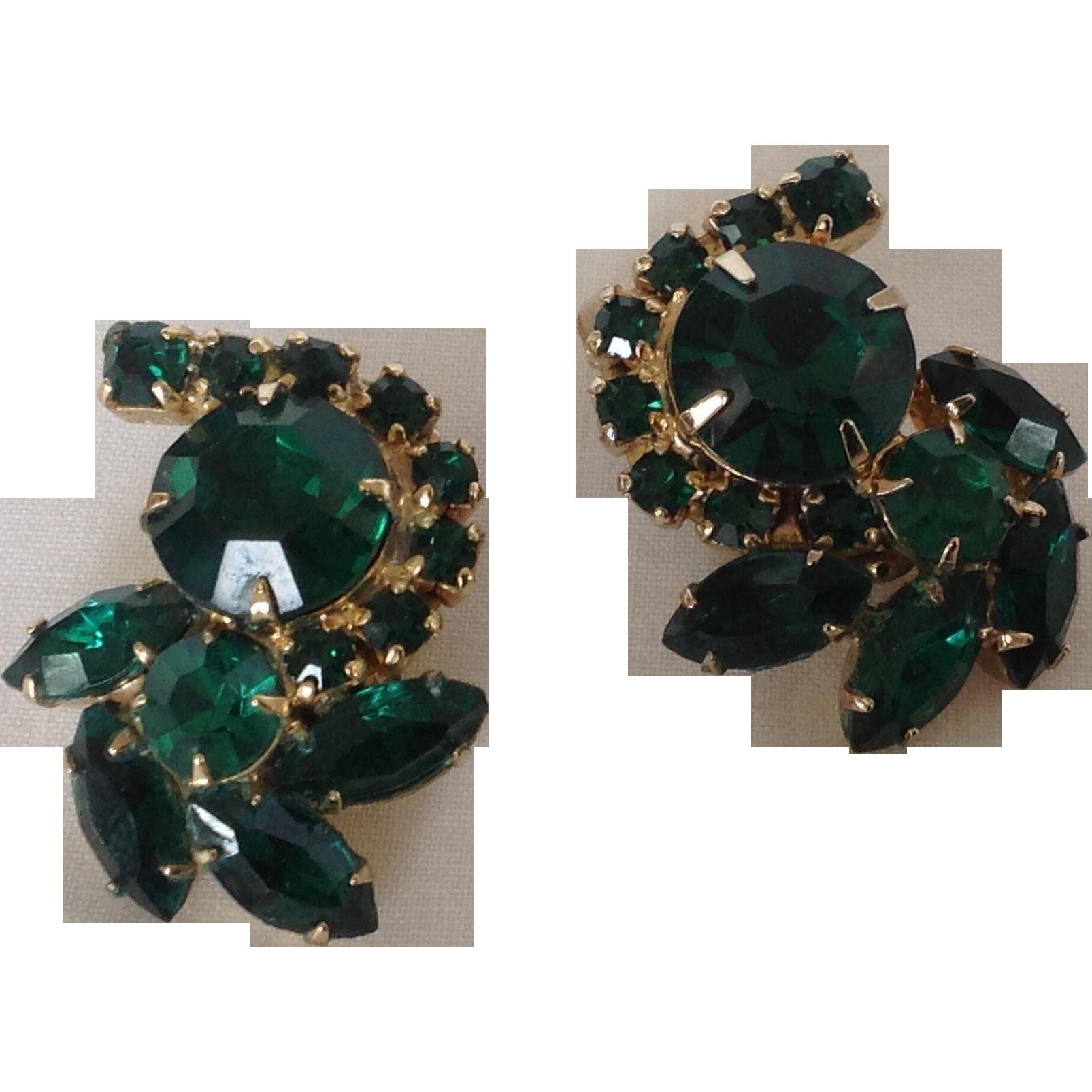 Emerald green Rhinestone clip earrings