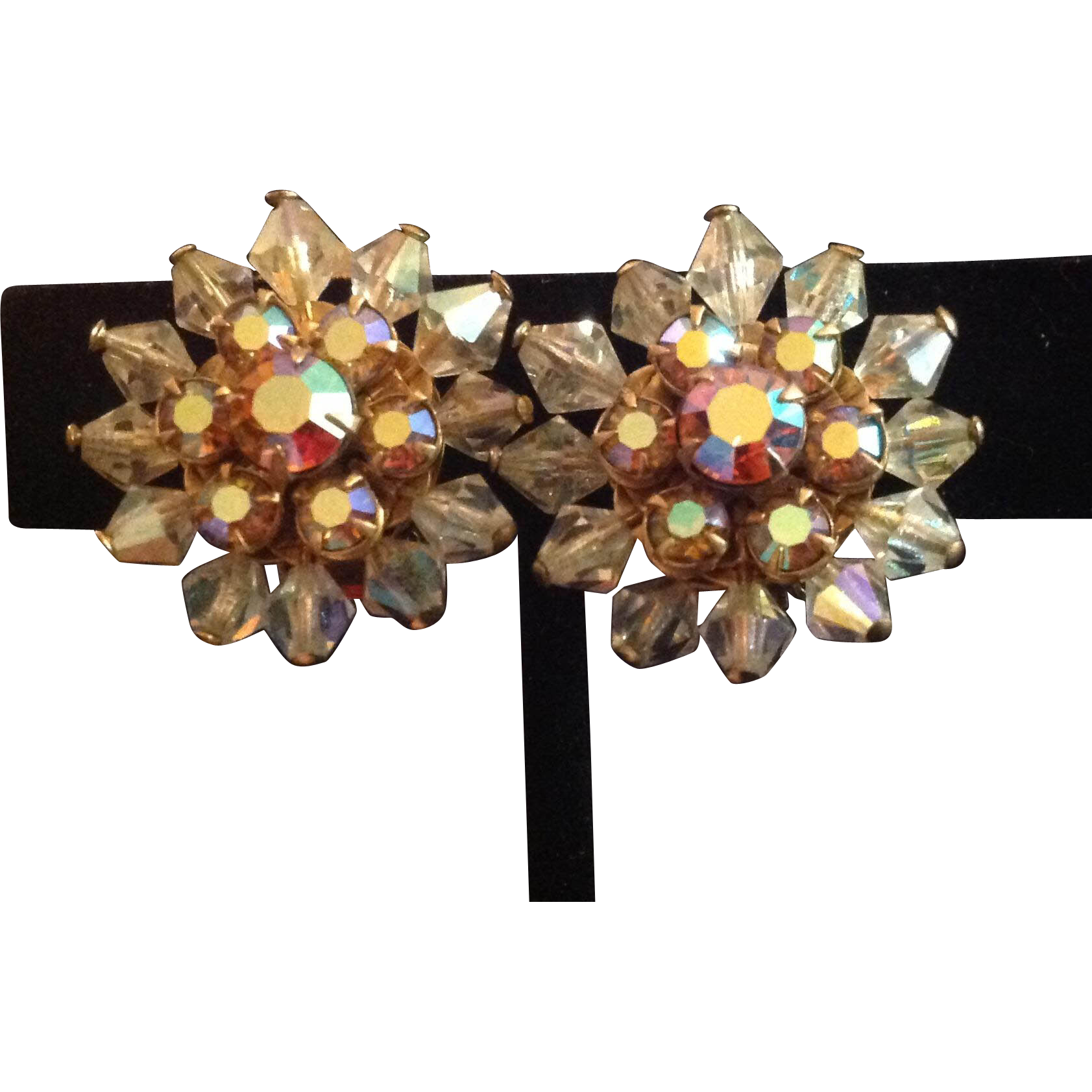 Weiss Aurora Borealis Rhinestone and Bead Cluster Earrings