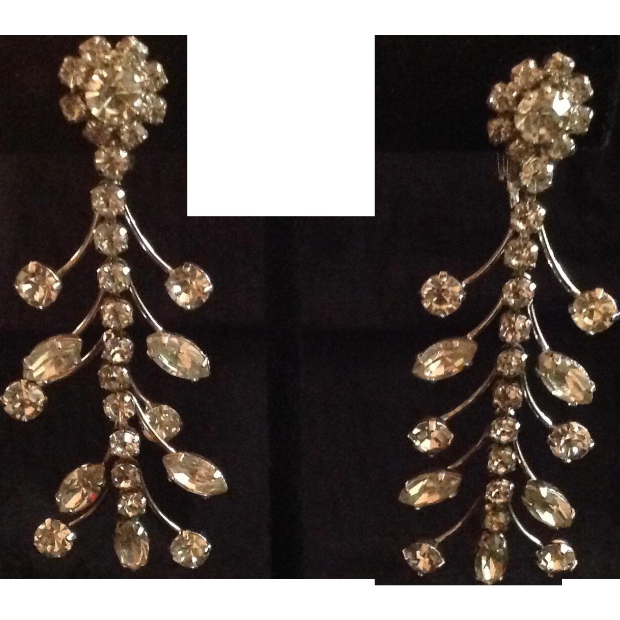 Prong-set Rhinestone Drop Earrings