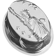 Unusual Vintage Patriotic Aluminum 10 cup Food Mold with Statue of Liberty