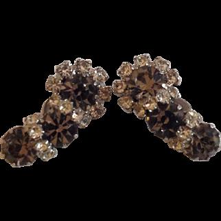 Smoky gray and crystal clear rhinestone clip earrings