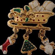 Christmas sleigh with enamel charms