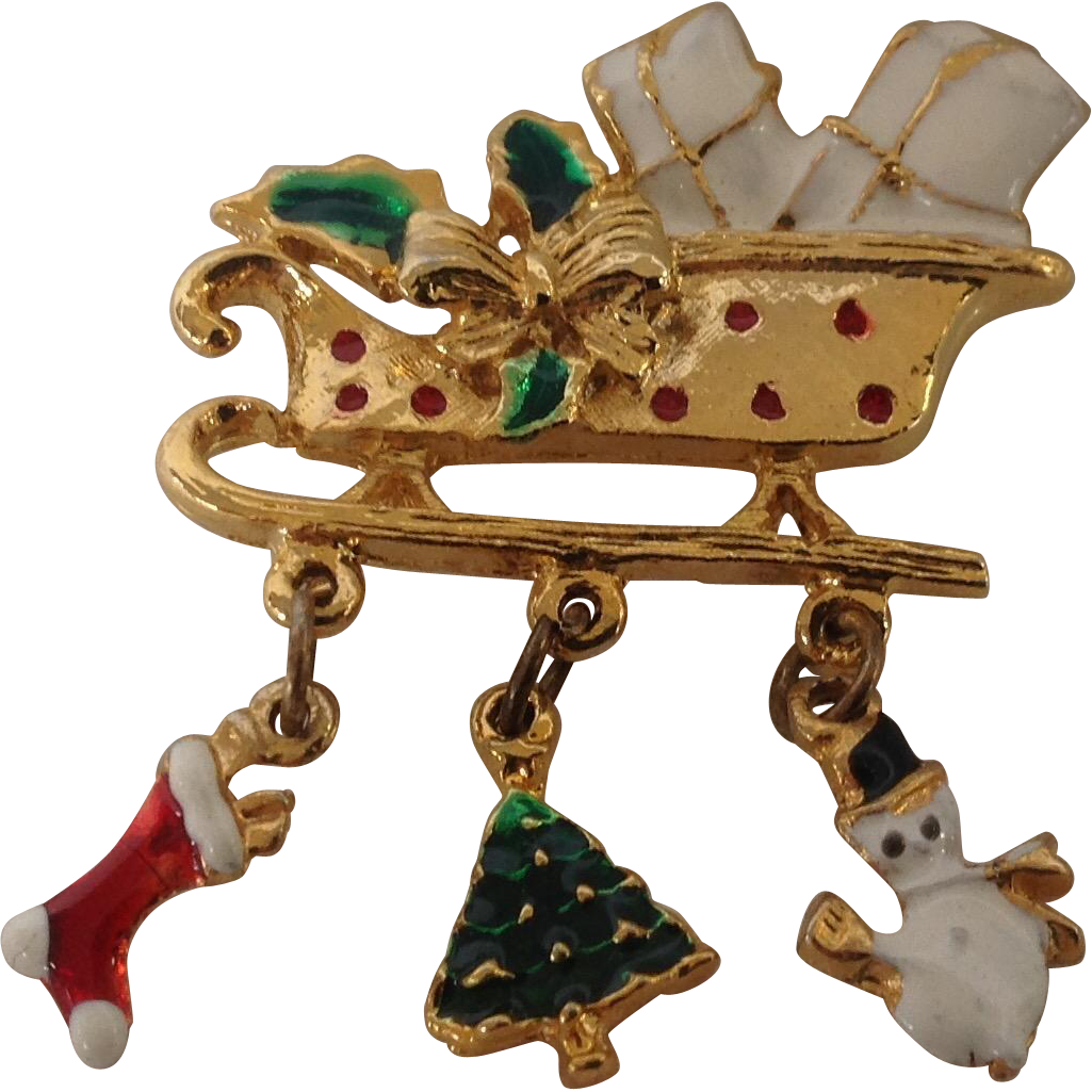 Christmas sleigh with enamel charms