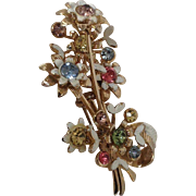 White flower bouquet pin with pastel rhinestones