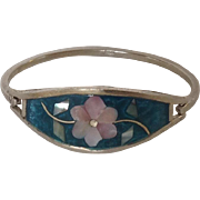 Sterling Alpaca Bracelet with abalone and mother of pearl insets