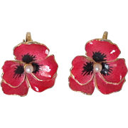 Red enamel pansy clip earrings with faux peal center