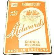 World War ll Era War Pack Milward's Embroidery Crewel Needles