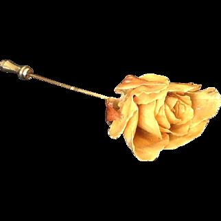 Real yellow rose  stick pin