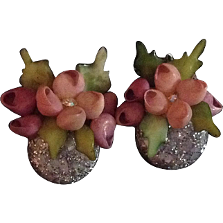 Vintage shell and bead clip back earrings
