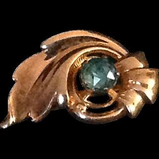 Vintage VanDell 1/20 12K gold filled pin with blue rhinestone