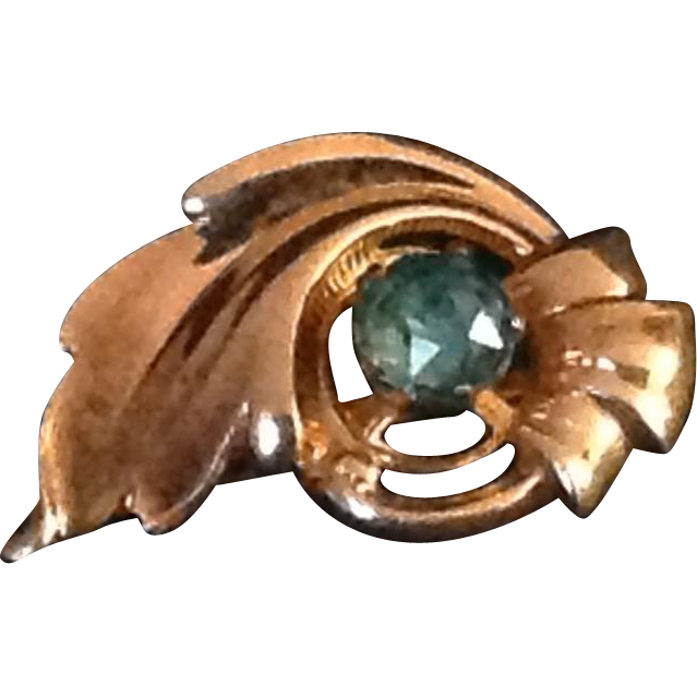 Vintage VanDell 1/20 12K gold filled pin with blue rhinestone