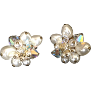 Simulated Pearl and Aurora Borealis bead cluster clip earrings.