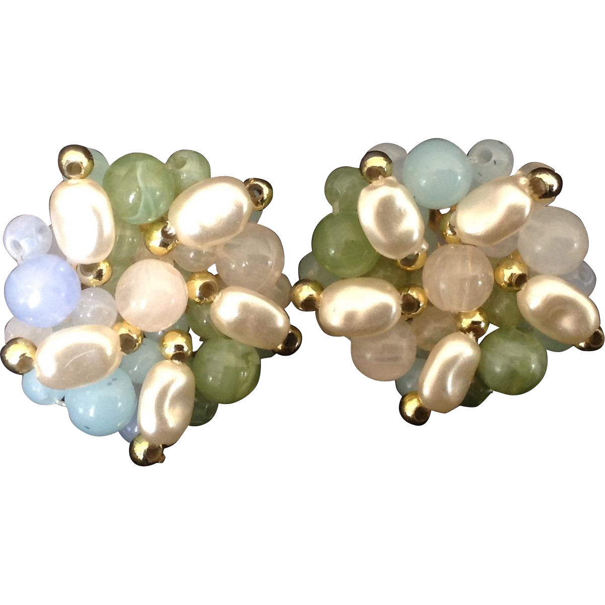 Simulated Baroque Pearl and Pastel Bead Cluster Clip Earrings