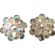 Shimmering Aurora Borealis bead cluster clip earrings