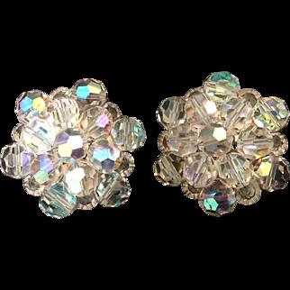 Shimmering Aurora Borealis bead cluster clip earrings