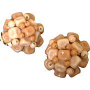 Faux coral beige bead cluster earrings made in Hong Kong