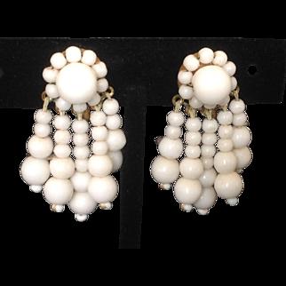White Milk Glass Screw Back Earrings with Dangling Beaded Pendants.