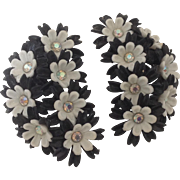 Big and Bold Black and White Floral Earrings