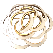 Monet Pin with White Enamel Entwined Circles on Goldtone setting