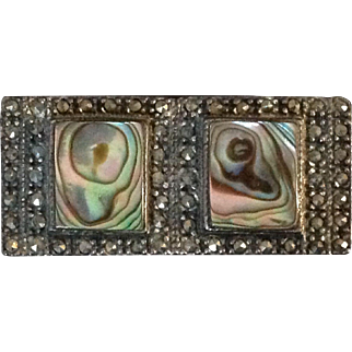 Vintage Sterling Silver Marcasite and Abalone bar pin