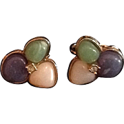Avon clip back  earrings with trefoil of soft pastel cabochons and a central rhinestone