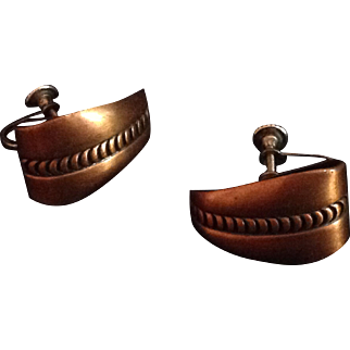 Vintage free form copper earrings