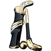 Golf bag, clubs and ball pin with black enamel and rhinestones.
