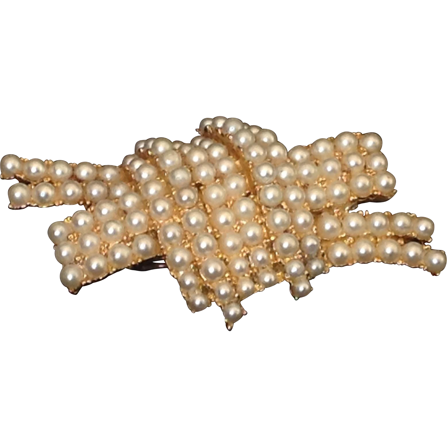ART simulated pearl and gold tone metal stylized knot pin