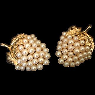 Faux pearl grape cluster clip earrings in gold tone setting