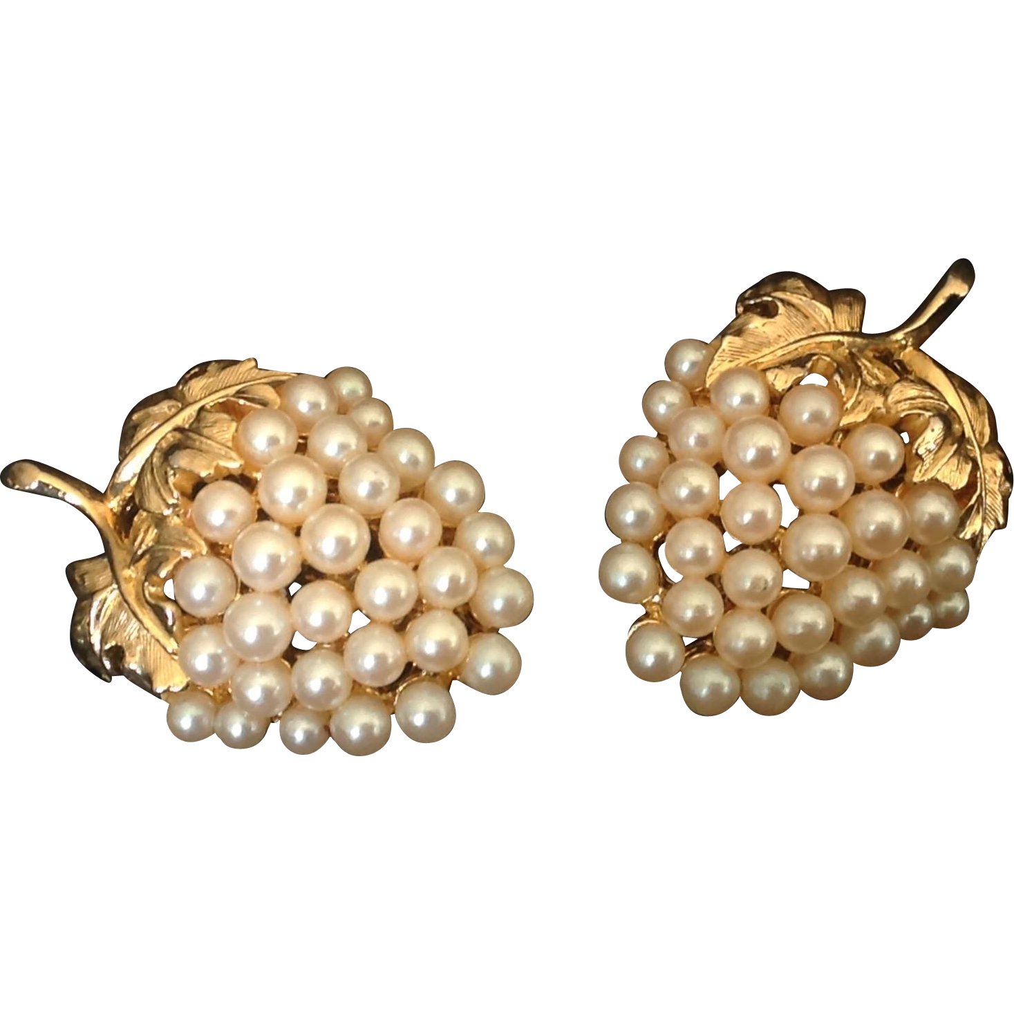 Faux pearl grape cluster clip earrings in gold tone setting