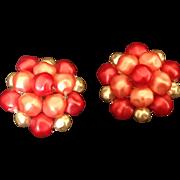 Vintage bead cluster earrings in shades of pink Made in Hong Kong