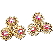 Coro trefoil clip earrings with iridescent red rhinestones