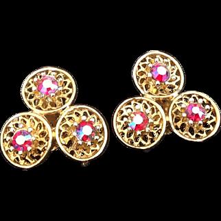 Coro trefoil clip earrings with iridescent red rhinestones