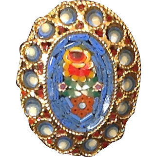 Blue micro mosaic pin